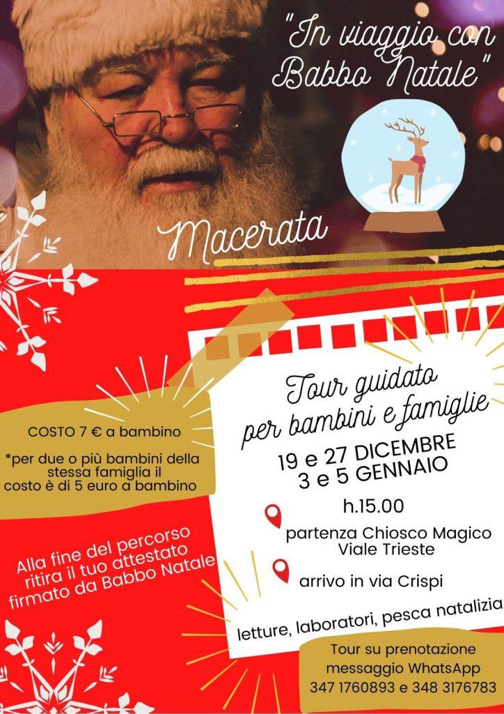 in viaggio con Babbo Natale evento Macerata locandina