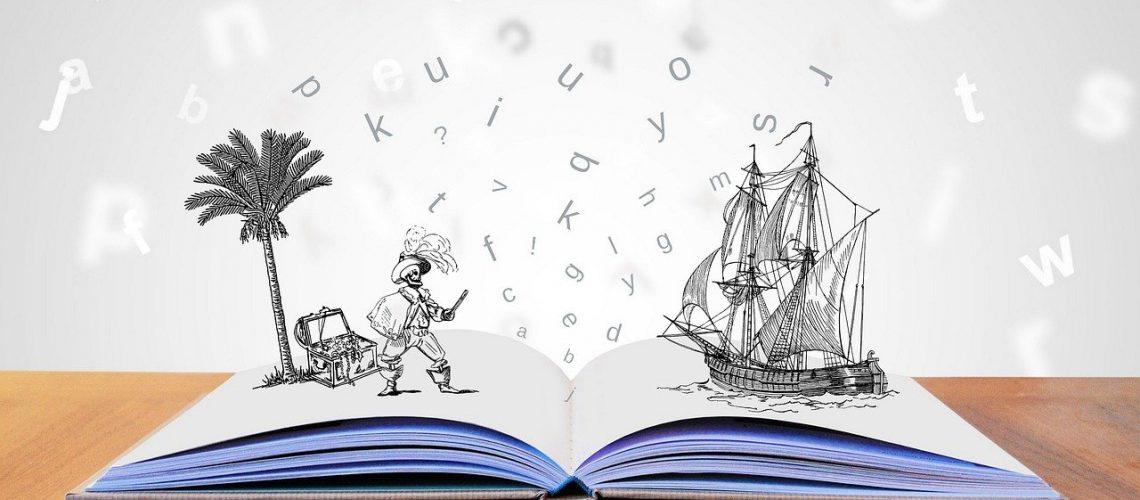 libro aperto con immagini di un pirata e di una nave. promozione della lettura